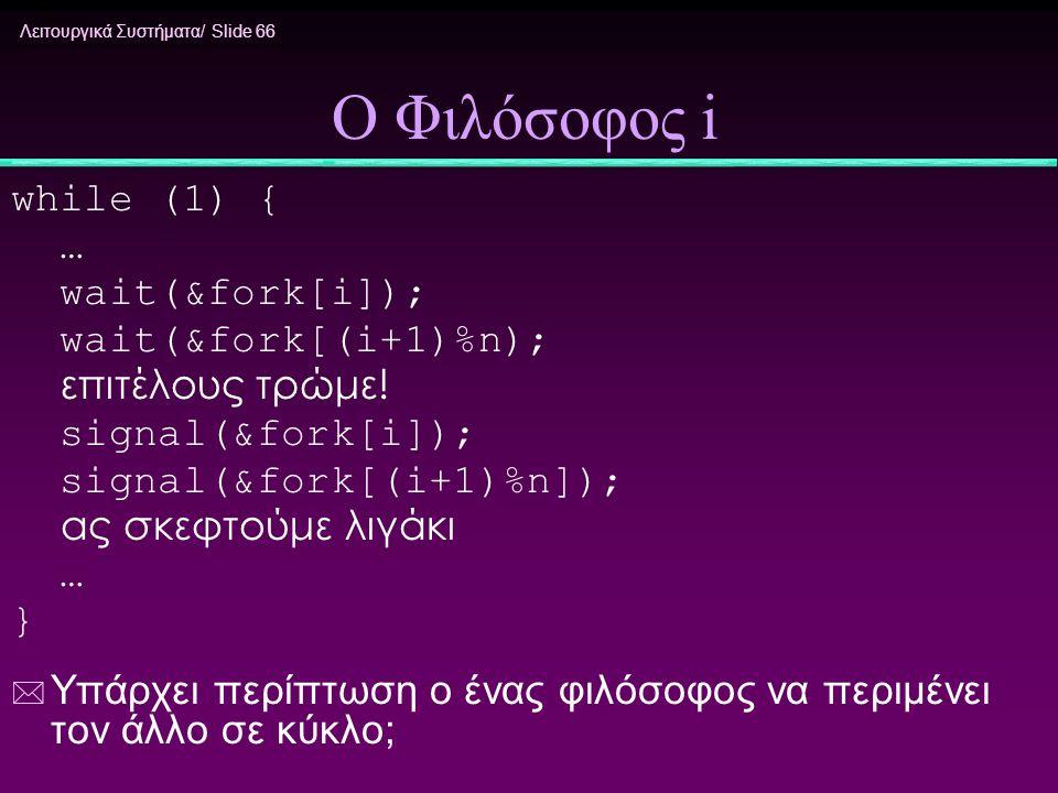 Ο Φιλόσοφος i while (1) { … wait(&fork[i]); wait(&fork[(i+1)%n);